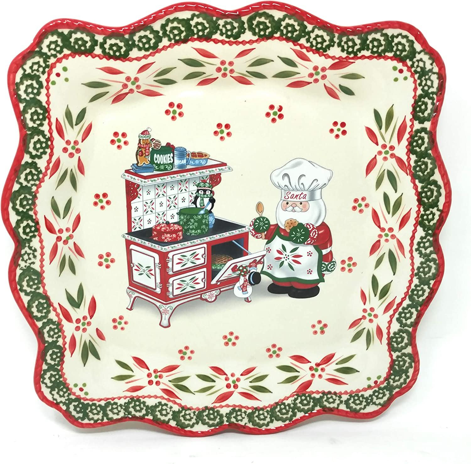 "Temp-tations 13.25"" Square Cookie Sheet, Platter, Cake Plate, OR Cheese & Cracker Tray, Holiday Whimsy (Santa by the Oven)"