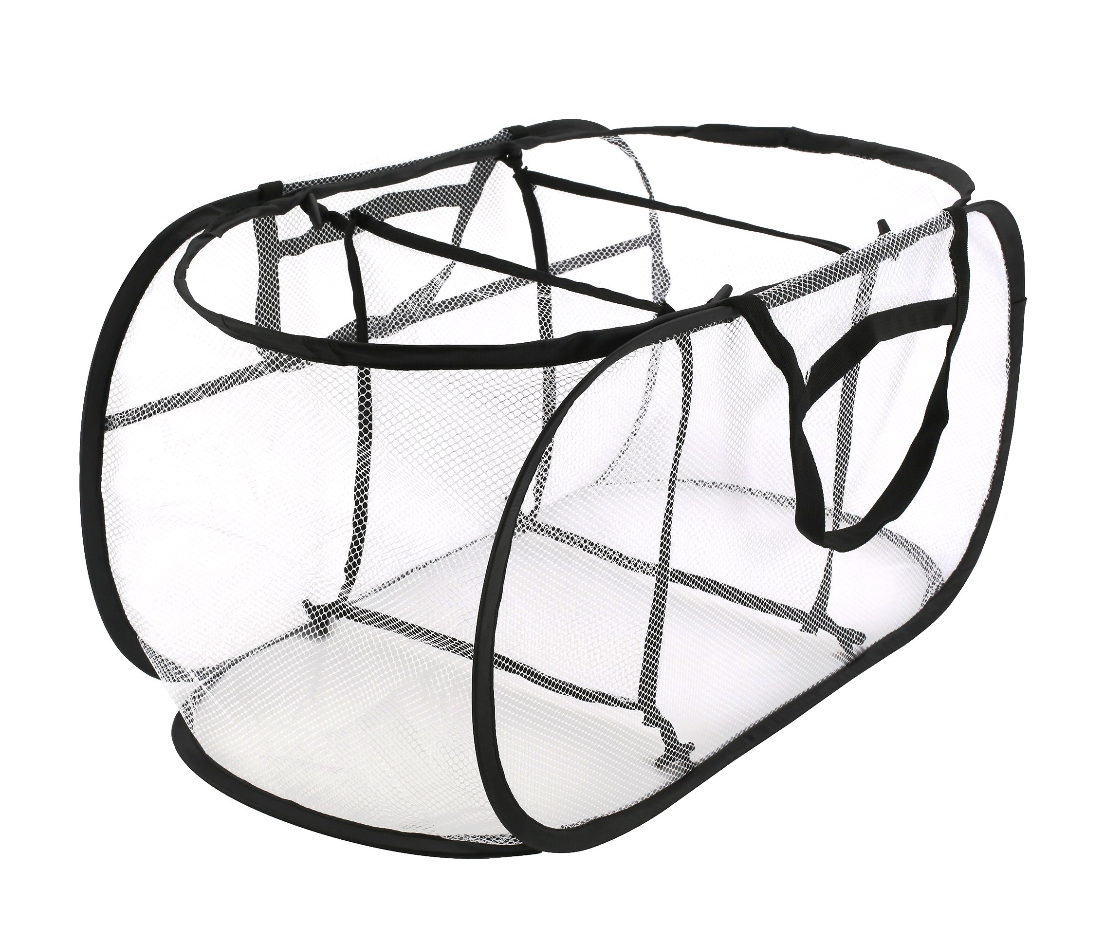 Collapsible Mesh Laundry Hampers, Estorager 3 Compartment Pop Up Sorter Baskets with Durable Portable Handles (Black Handle, S)