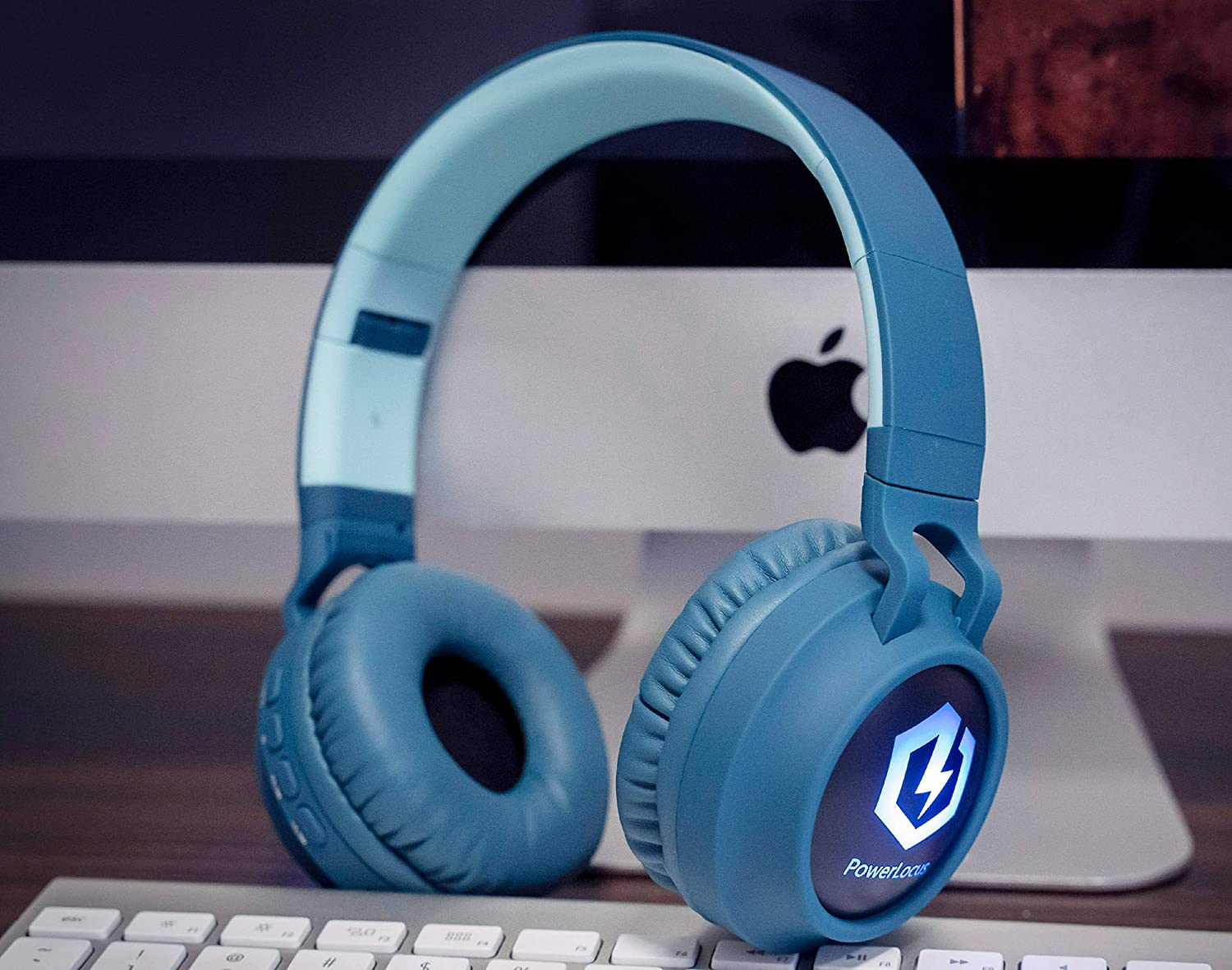Powerlocus Buddy Wireless Bluetooth Headphones For Kids Non Ears Blue Wireless And Wired Headphone For Cell Phones Tablets Pc Laptop Kid Headphone Over Ear With Led Lights With 10h Playtime Kasharindia Com