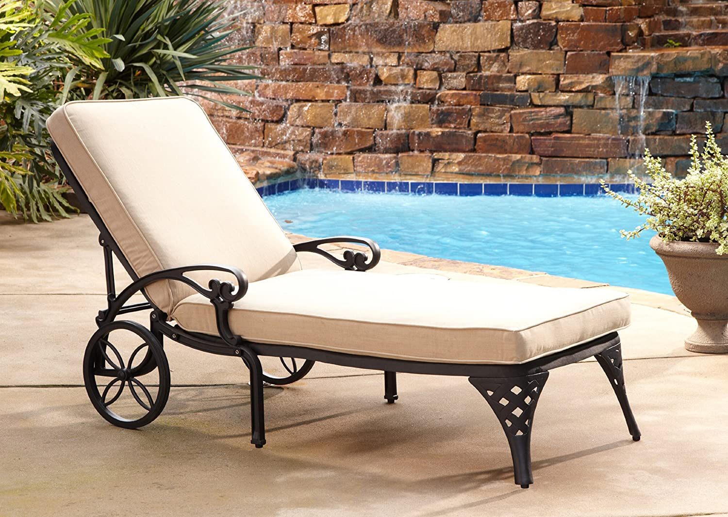 Amazon.com  Home Styles Biscayne Chaise Lounge Chair Taupe Cushion  Patio Lounge Chairs  Garden u0026 Outdoor : taupe chaise lounge - Sectionals, Sofas & Couches
