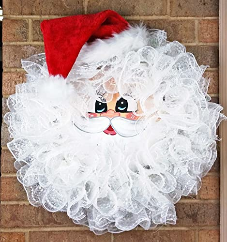 Handmade Santa Deco Mesh Wreath - Christmas Santa Wreath - Holiday Santa Face Wreath - Santa & Amazon.com: Handmade Santa Deco Mesh Wreath - Christmas Santa Wreath ...