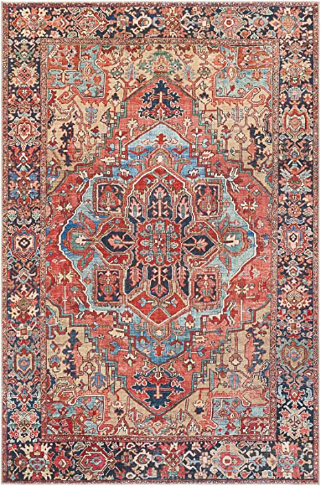 Amazon Com Crook Oriental Power Loom Bright Red Navy Wheat Ice Blue Grass Green Ivory Rug Technique Power Loom Material Polyester Kitchen Dining