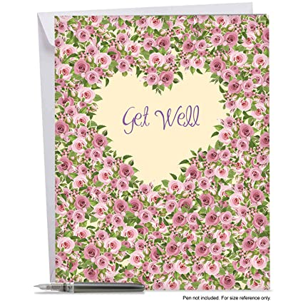 amazon com big get well soon wishes greeting card with envelope