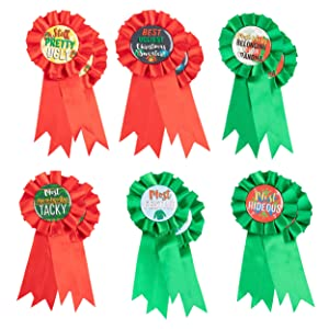 Ugly Christmas Sweater Award Ribbons - 12-Pack Christmas Contest Supplies, 6 Award Designs for Festive Holiday Game, Red and Green, 3 x 6.2 Inches
