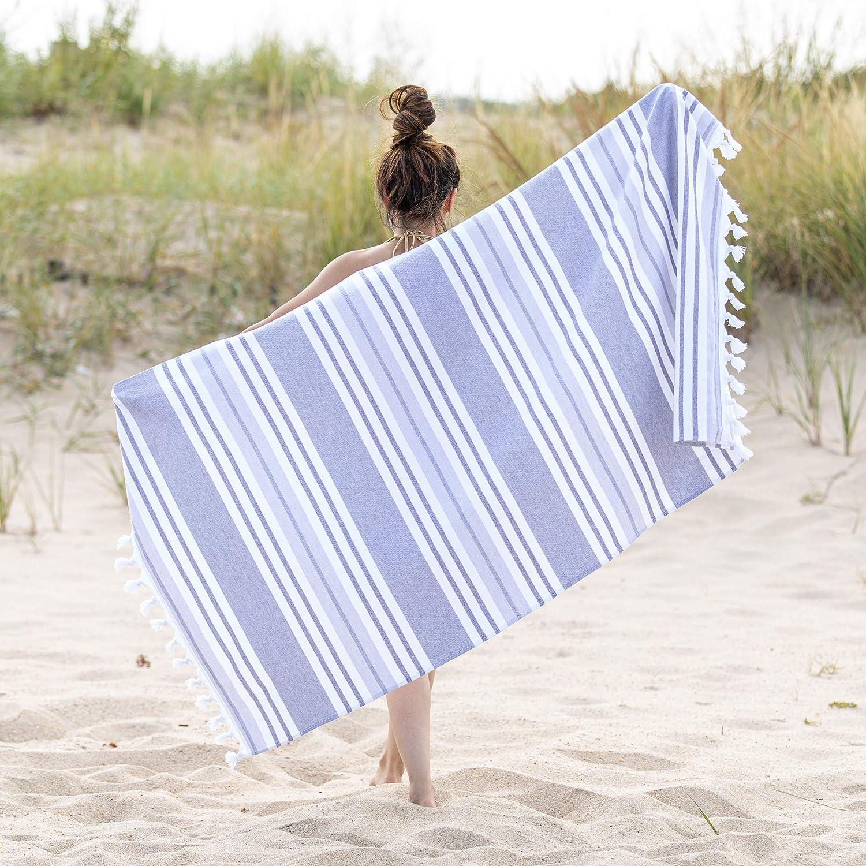 SUPERIOR Racer Stripe Oversized Beach Towel, 35x68, Grey
