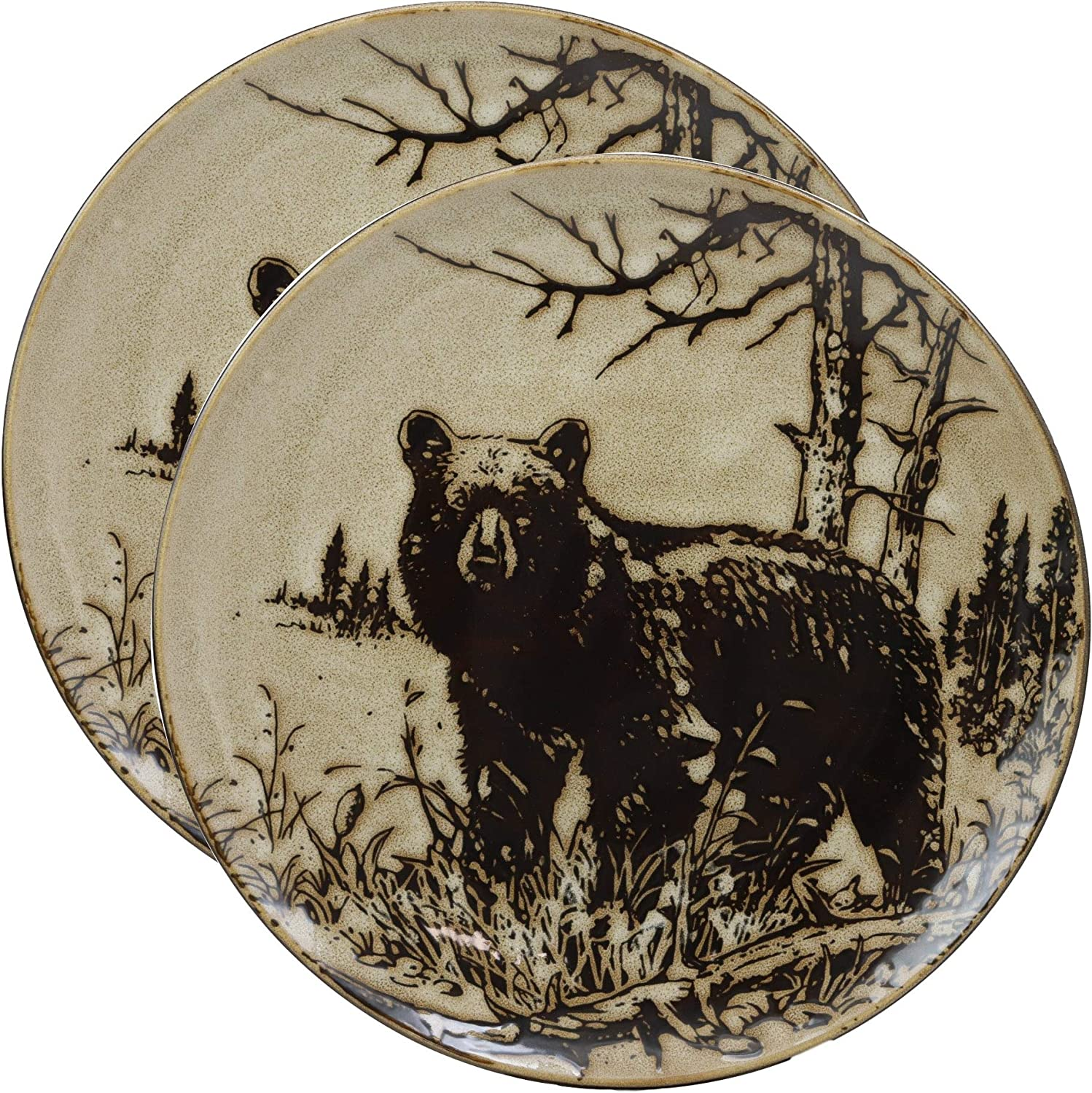 "Ebros Animal Wildlife Woodland Forest Black Bear Abstract Art Large Round Dinner Plate Set of 2 11"" Diameter Grizzly Bears Plates Dishwasher And Microwave Safe Dinnerware Dining Table Dishes Decors"