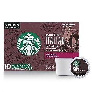Starbucks Italian Roast Dark Roast Single Cup Coffee for Keurig Brewers, 1 Box of 10 (10 Total K-Cup pods)