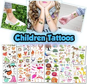 Kids Temporary Tattoos - More Than 100 Easy-to-Use Tattoos for Children (Animal Tattoos - 12 Sheets)