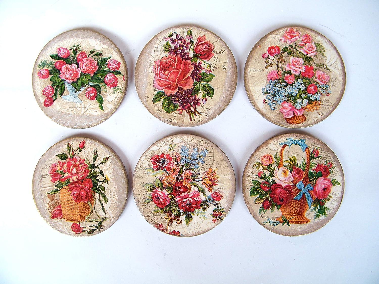 Posavasos Florales de Madera, Juego de 6 Redondos Posavasos, Salvamanteles, Protectores de Mesa, Decoración de Comedor, Coasters: Amazon.es: Handmade