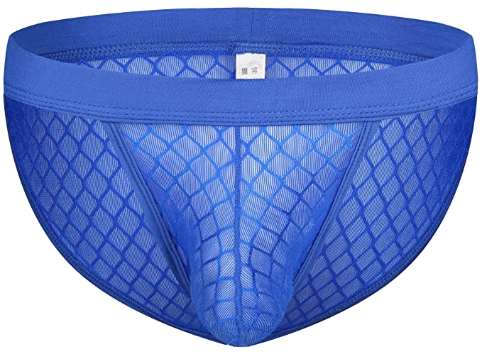 bc81837c5f4 Comlife Boy's Mesh Stretch Bulge Pouch Underwear Sexy Thong G-String Blue S