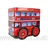 """Chocolates in """"Double - Decker Bus"""" - Milk Chocolate in London Red Route Master Bus Tin with Wheels"""