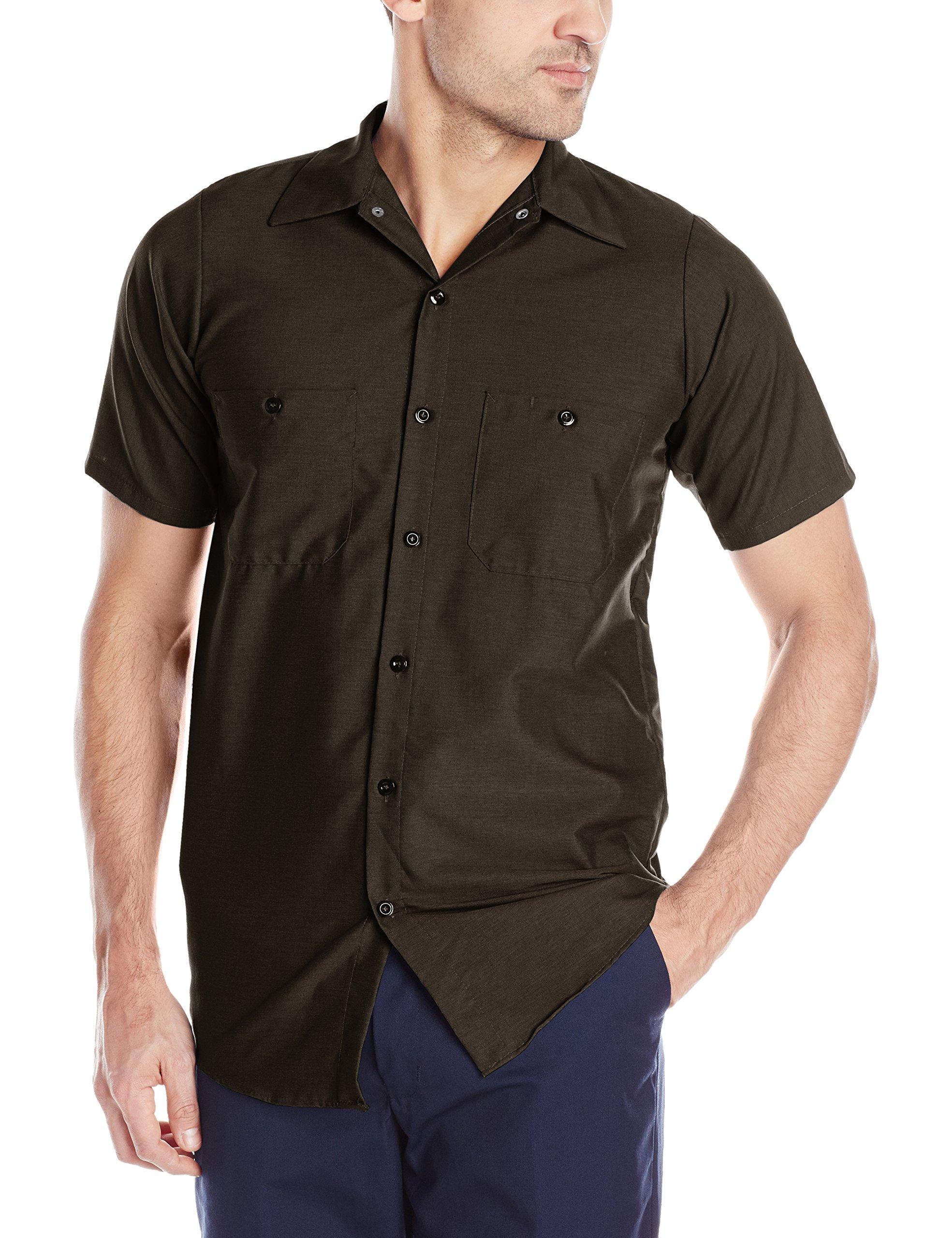 Red Kap Men's Industrial Short-Sleeve Work Shirt,Chocolate Brown, 2X-Large