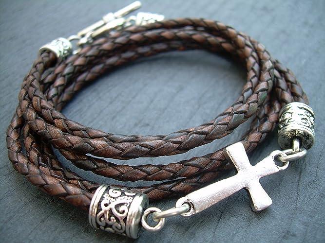 Amazon Com Braided Leather Bracelet Antique Brown Cross Bracelet