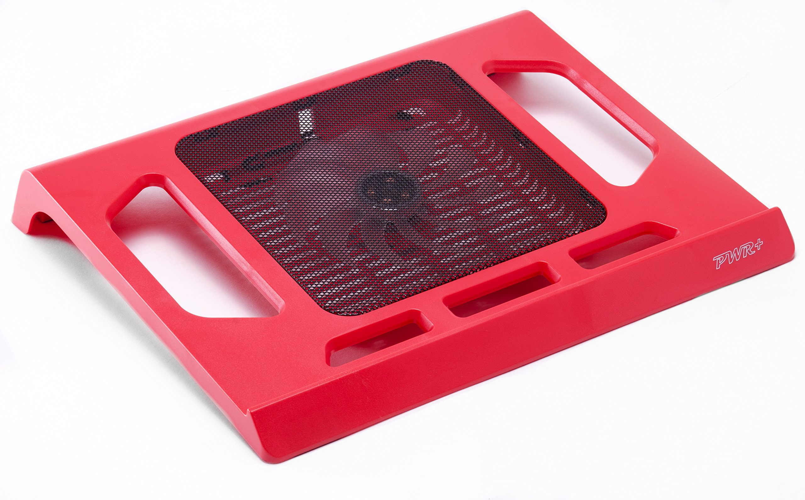 PWR+ [Limited Edition] 16'' PwrPad with 140mm Silent Fan for Apple, Acer, Asus, Dell, Hp, Lenovo, Samsung, Sony, Toshiba and others Laptop Notebook Cooling Pad Bed Lap LED Red