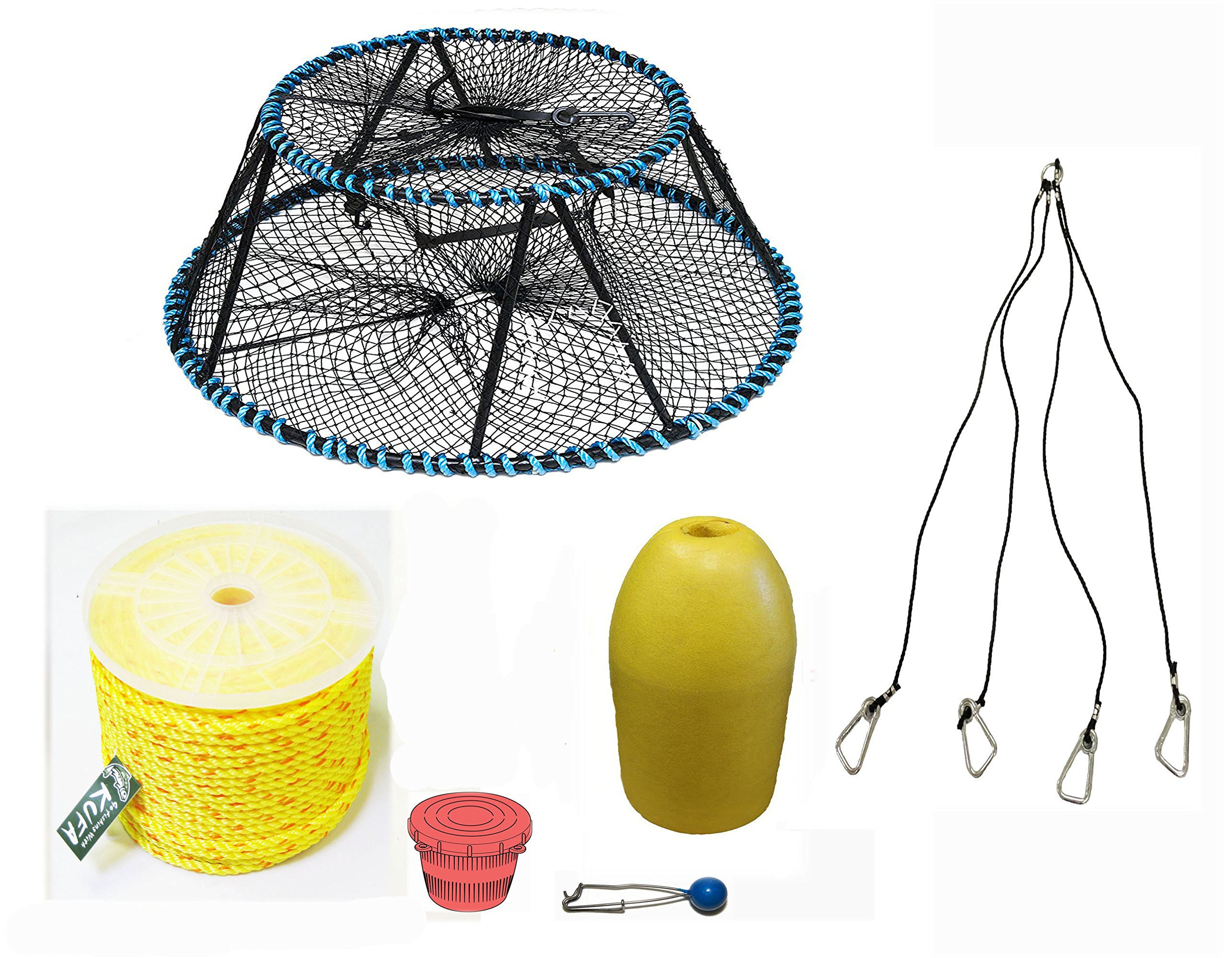 KUFA Sports Tower Style Prawn trap with 400' rope, Yellow float, Bait Jar & Harness Combo(CT130+PAP3+HA5) by KUFA Sports