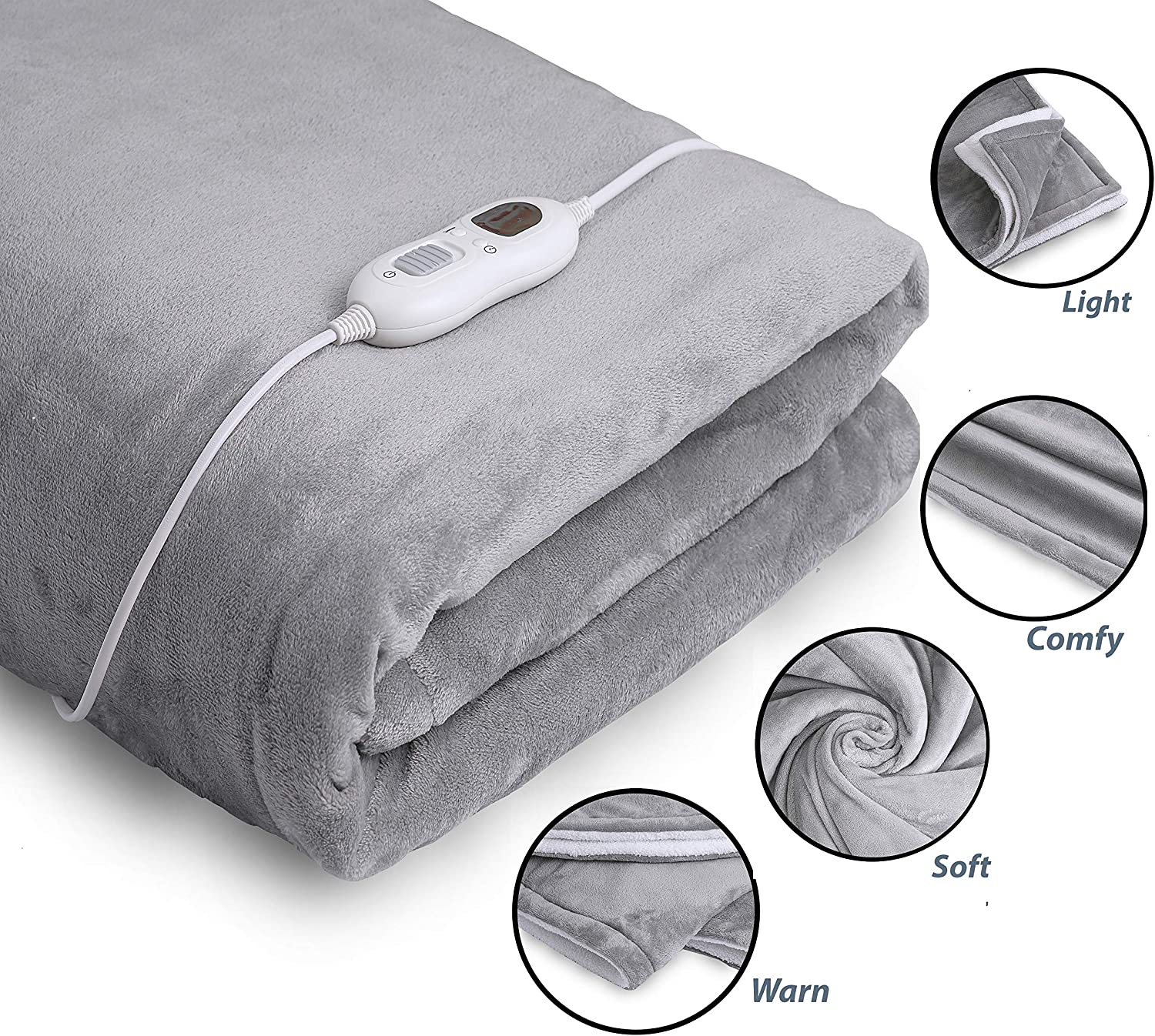"InvoSpa Electric Throw Heated Blanket - 50"" x 60"" Flannel & Sherpa Fast Heating Blanket, with 3 Heating Levels, 8 Hours Auto Off - Electric Blanket, Heated Mattress Pad - Machine Washable"