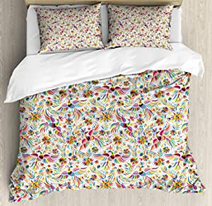 Ambesonne Mexican Duvet Cover Set, Colorful Nature Inspired Pattern Birds Flowers Leaves and Dots Creativity, Decorative 3 Piece Bedding Set with 2 Pillow Shams, King Size, Red Cream