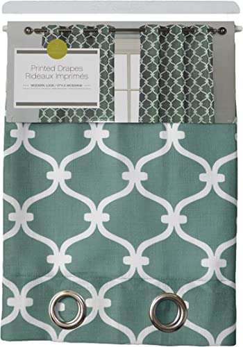 Set of Two Window Curtain Panels Teal with White Moroccan Trellis Design, 76 x 84 , Free Wooden Hanger