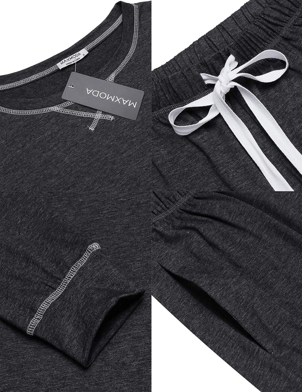 Crew Neck Top and Drawstring Pant S-XXL MAXMODA Mens Sleepwear Pajama Set