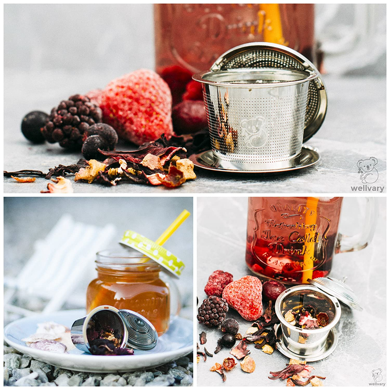 wellvary Premium Edelstahl Teeei | Hochwertiges Teesieb & Teefilter | Teekugel für Losen Tee | 2 Stück im edlem Velours Beutel