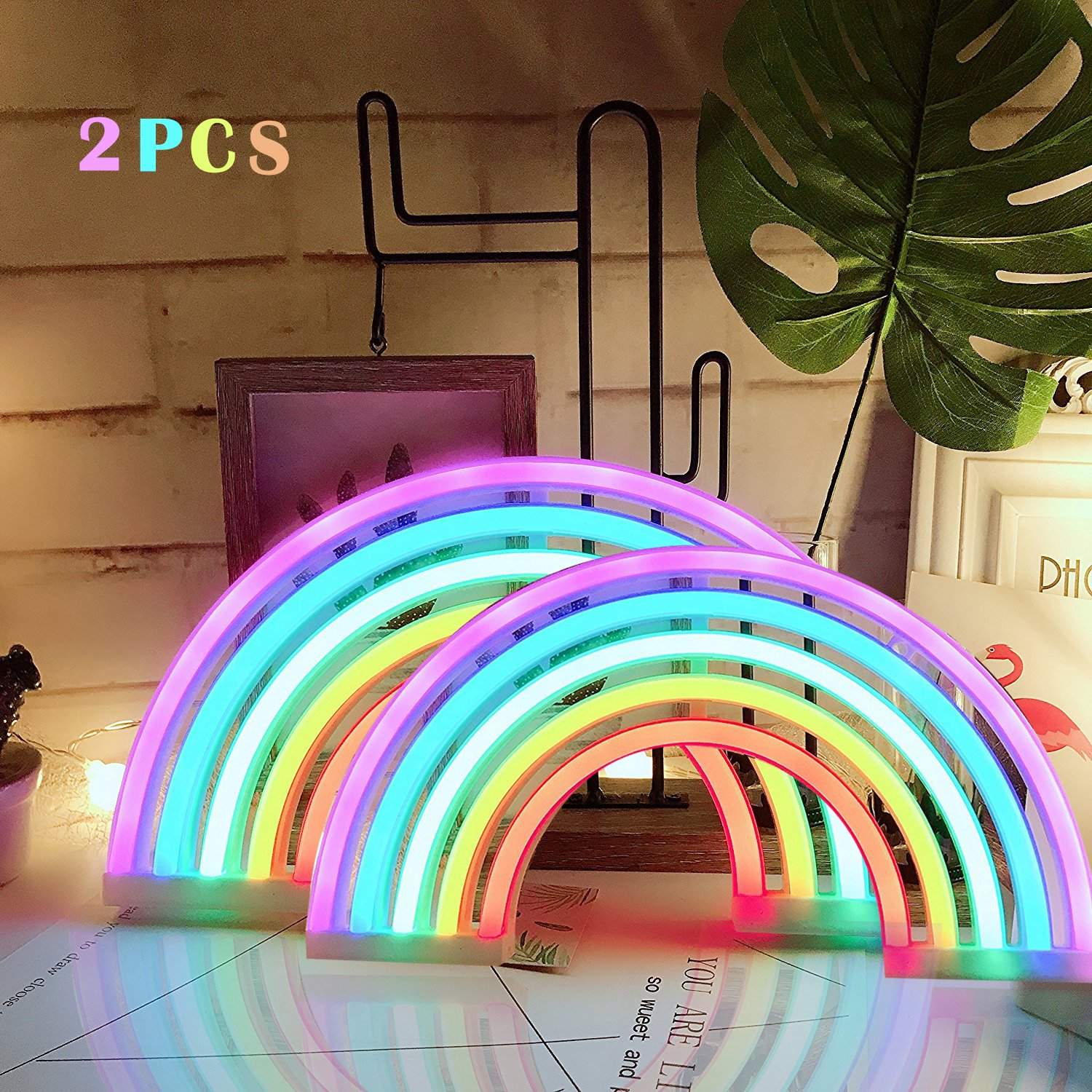 AIZESI 2PCS Rainbow Neon Light Sign,Neon Table Lamps,Marquee Battery Or USB Operated Table Led Ligths Wall Decoration for Girls Bedroom,Living Room,ChristmasParty as Kids Gift (Rainbow) by AIZESI (Image #1)