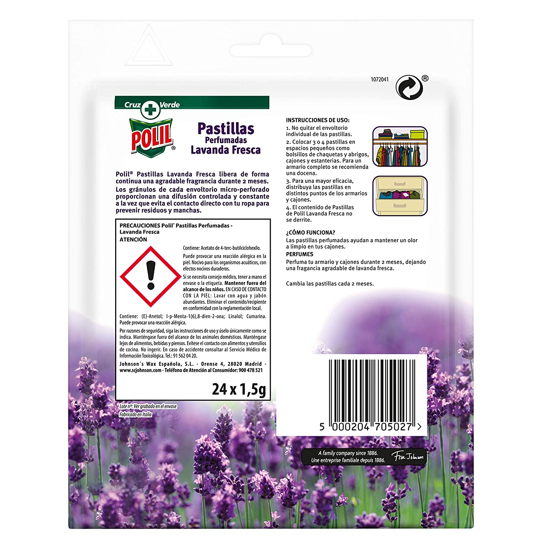 Polil Raid Pastillas Perfumadas Antipolillas Protector de ropa, Lavanda, Pack de 6 x 24 unidades, Total 144 unidades