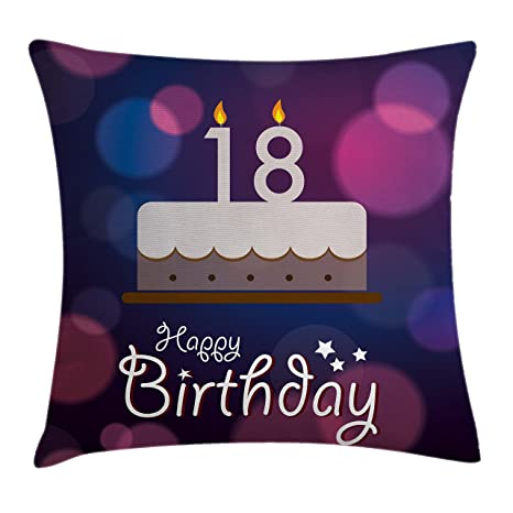 Ambesonne 18th Birthday Throw Pillow Cushion Cover Cartoon Party Cake With Candles Vibrant Abstract