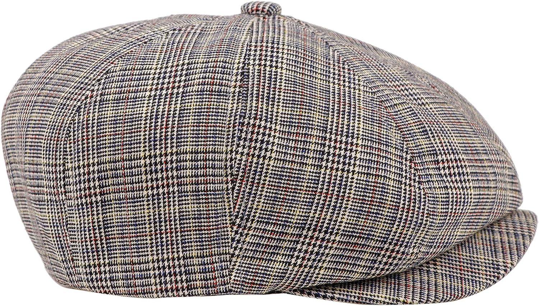 Newsboy Hats Men Flat Cap Gatsby Snap Classic Herringbone Twill Vintage 8 Panel Hat