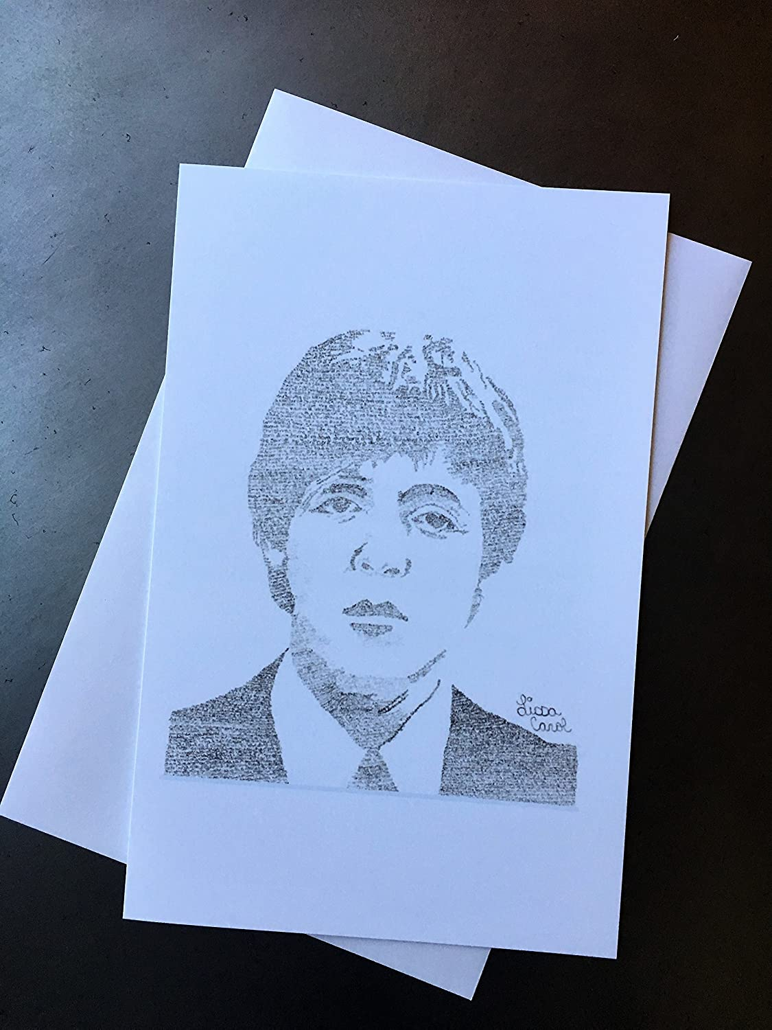 Christmas Card Artist.The Beatles Paul Mccartney Christmas Card Drawn From His Wonderful Christmastime Lyrics Xmas Contemporary Music Greeting Card With Envelope