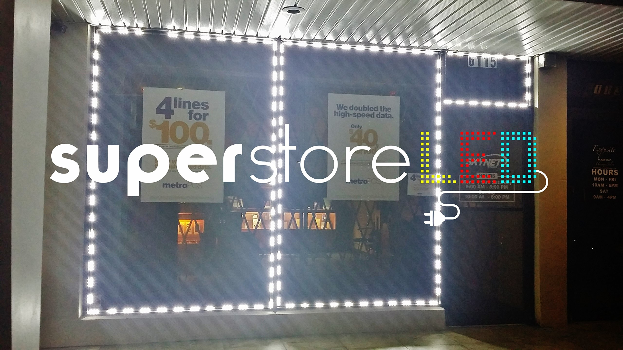 SuperStoreLED Brightest Storefront LED Window Light Kit with UL Power Supply