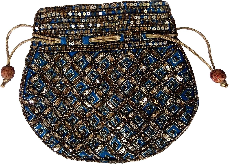 Gold Thread Sequin Embroidery Purpledip Potli Bag Drawstring Purse