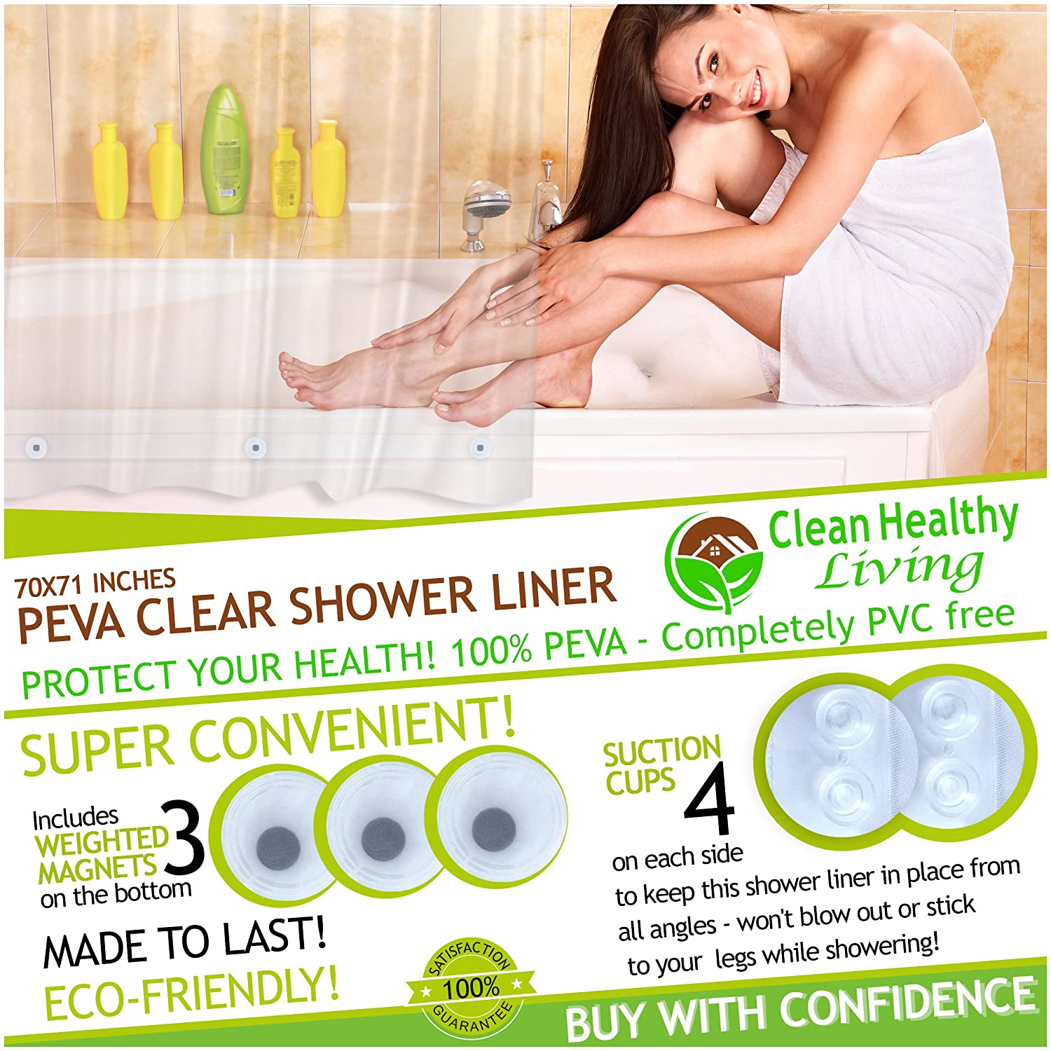 Amazon.com: Clean Healthy Living PEVA Clear Shower Liner, 70 X 71 In. Long    1 Pack: Home U0026 Kitchen