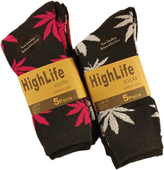 Men/'s Trainer Socks Ganja Weed Leaf Print Cannabis Rich Cotton socks Size 6-11