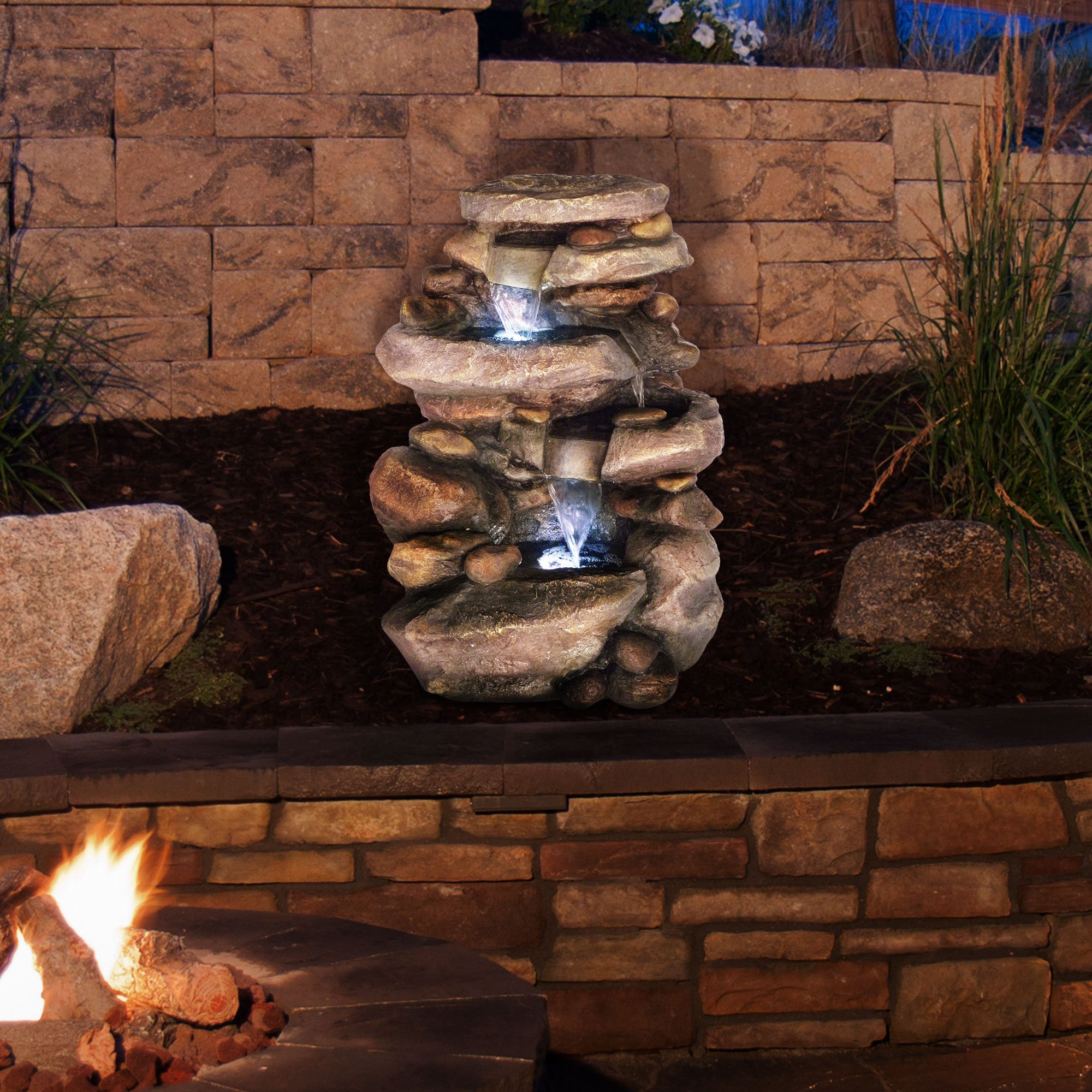 Go Yard Stone Waterfall Fountain with LED Lights by GOYARD