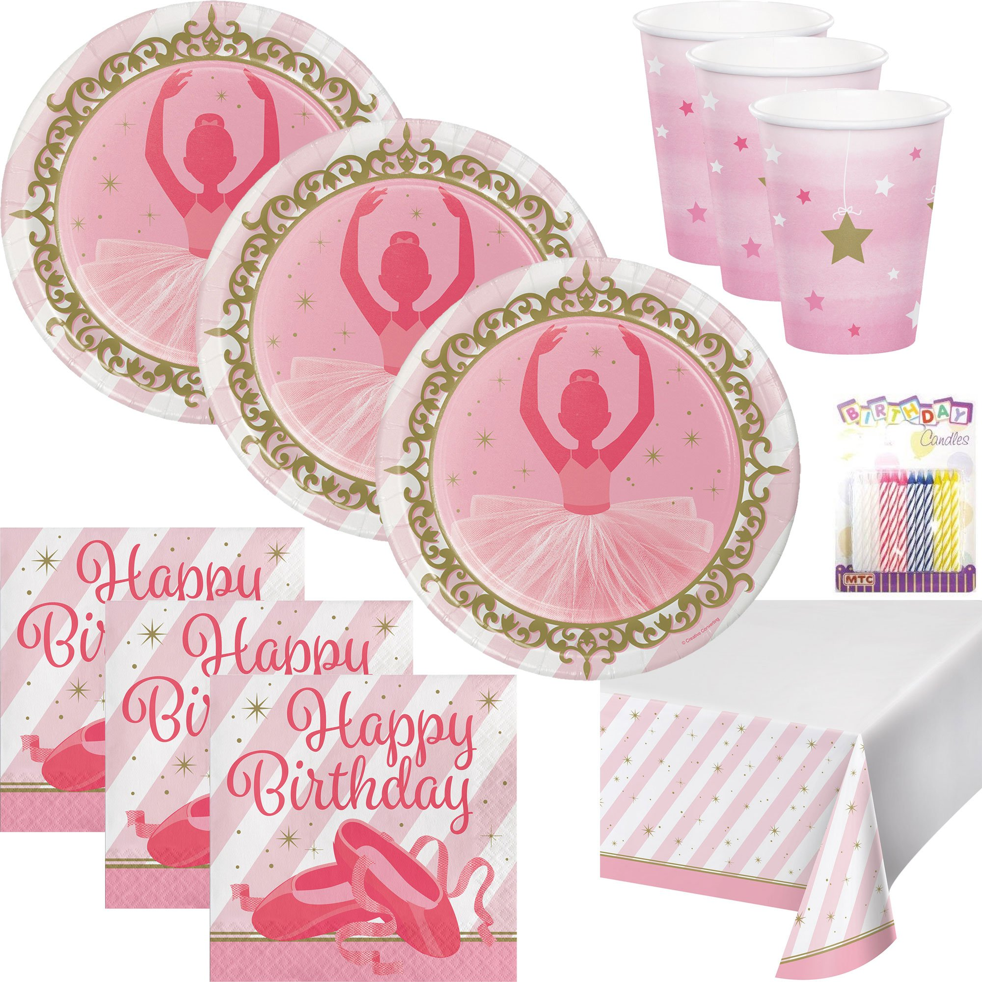 Ballerina Theme Party Supplies Pack (Serves-16) Plates Napkins Cups and Tablecloth - Twinkle Toes Party Supply Tableware Set Kit includes Birthday Candles
