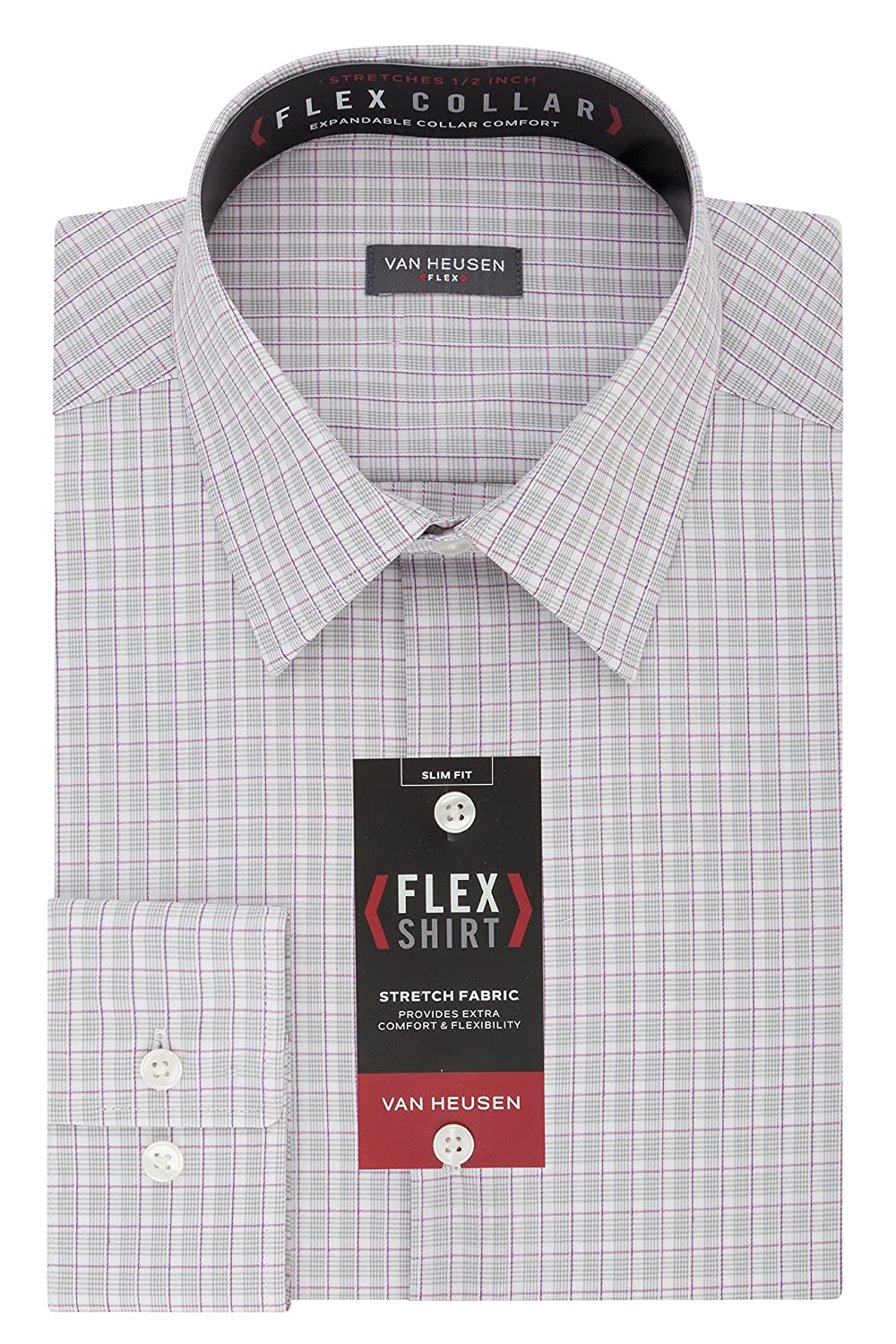 Van Heusen Mens Flex Slim Fit Plaid Point Collar Dress Shirt At