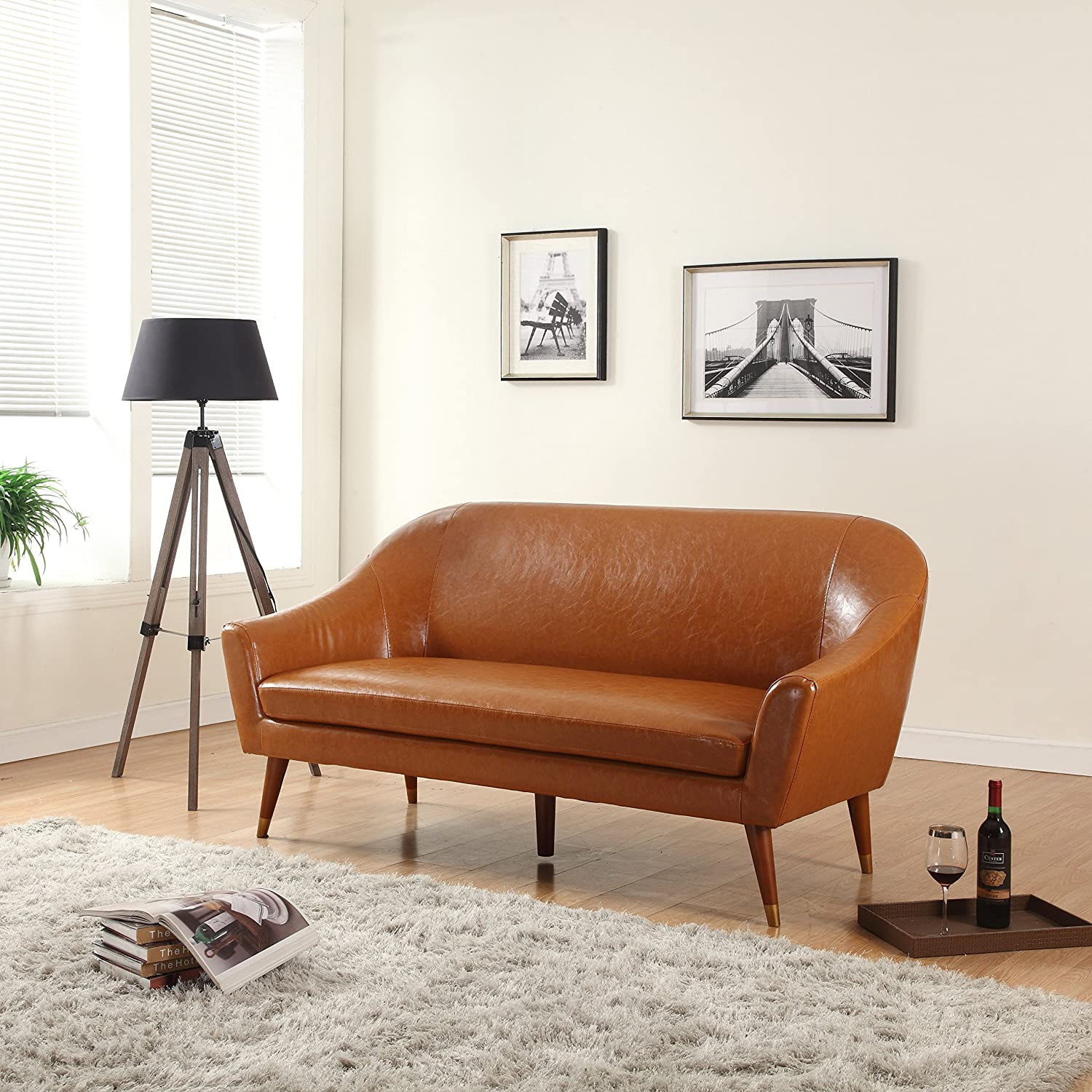 Amazon com divano roma furniture mid century modern sofa bonded leather kitchen dining