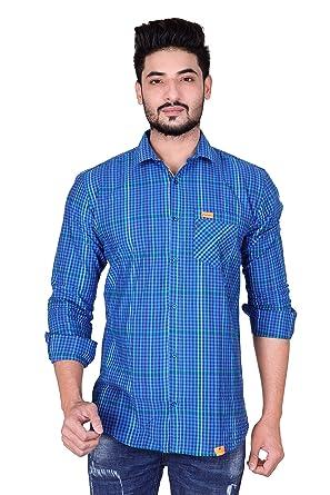62ea4d8ef3 Kivon Men s Sky Blue   White Checks Shirt(Size-XX-Large)  Amazon.in ...