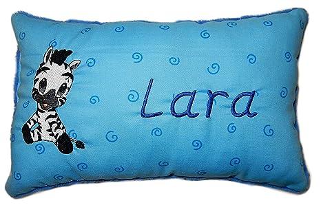 Azul Cojín * * - Cojín Zebra * con nombre bordado * en dos ...