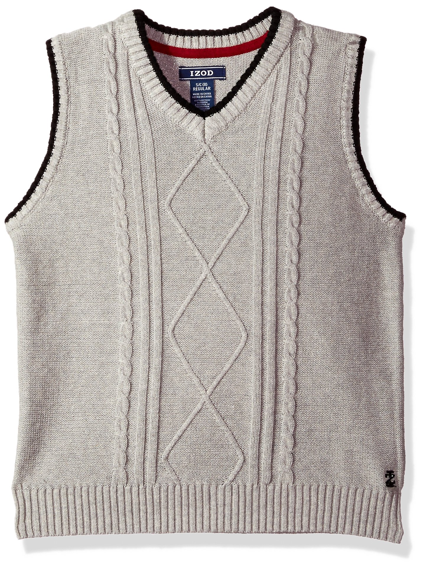 IZOD Big Boys' Cable Sweater Vest, Light Grey, X-Large