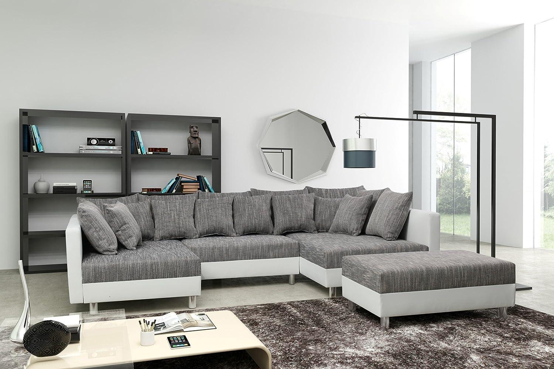 Ecksofa hellgrau  Sofa Couch Ecksofa Eckcouch in weiss / hellgrau Eckcouch mit ...