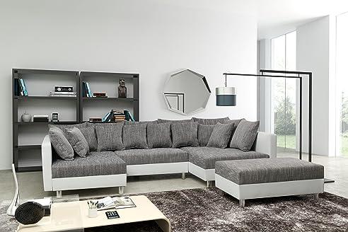 Sofa Couch Ecksofa Eckcouch In Weiss / Hellgrau Eckcouch Mit