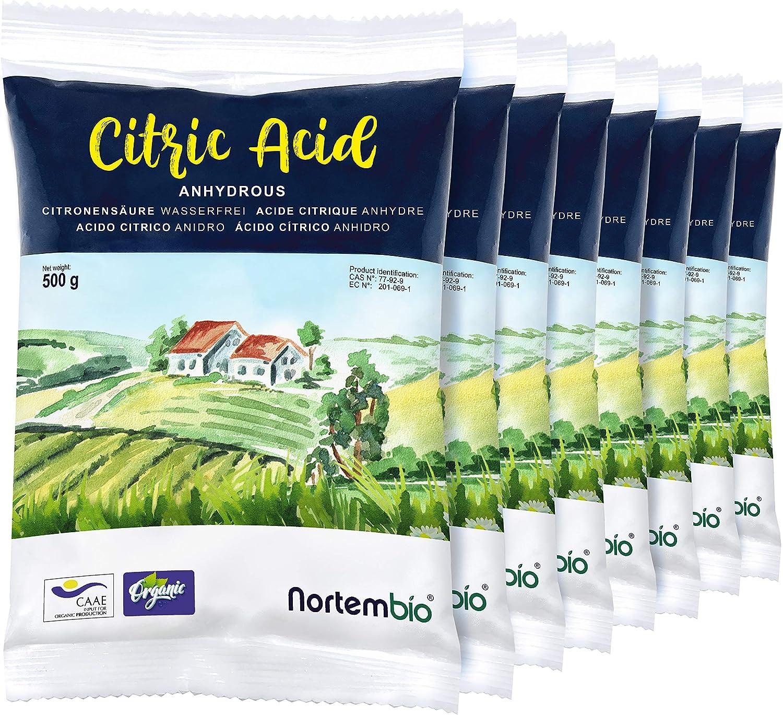 NortemBio Ácido Cítrico 4 kg (8x500g). Polvo Anhidro, 100% Puro ...