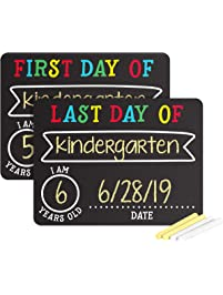 Pearhead First and Last Day of School Photo Sharing Chalkboard Signs; The Perfect Back to School Chalkboard Sign to...