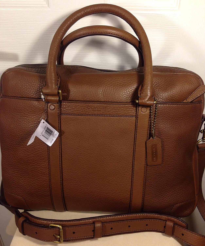 Coach Bleeker Saddle Brown Pebbled Leather Briefcase Laptop Tablet Messenger Crossbody Bag Case 71196