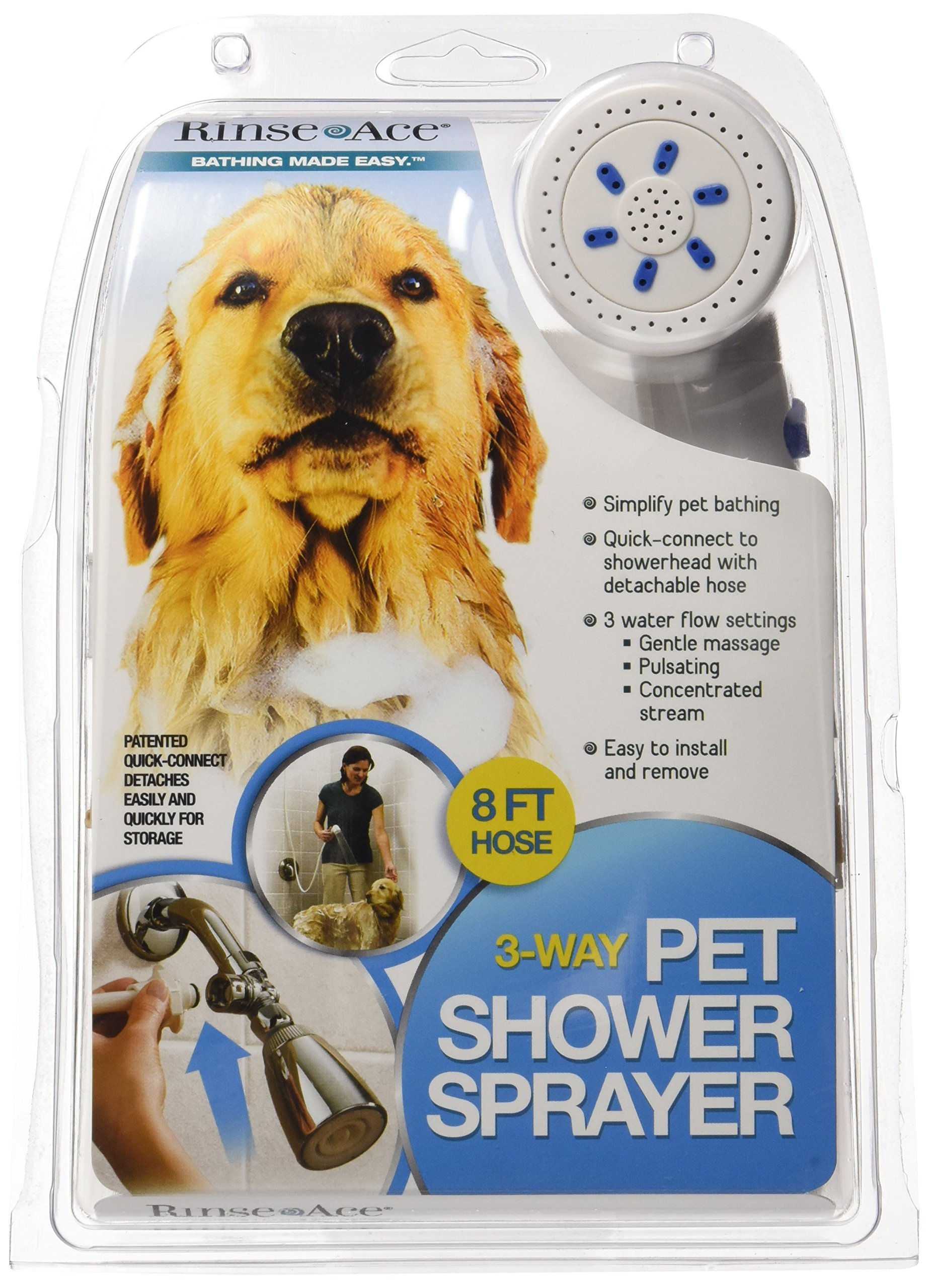 Rinse Ace 3 Way Pet Shower Sprayer with 8 Foot Hose and Quick Connect to Showerhead by Rinse Ace