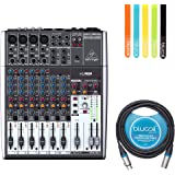 Behringer XENYX 1204USB Premium 12 Input 2/2 Bus Mixer -INCLUDES- Blucoil Audio 10' Balanced XLR Cable AND 5 Pack of Cable Ties