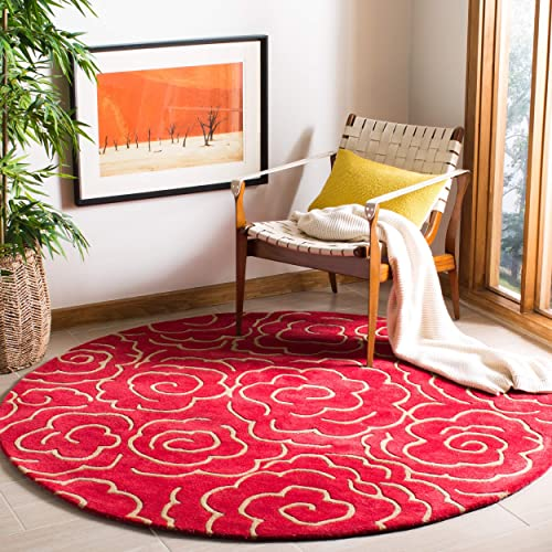 Safavieh Soho Collection SOH812A Handmade Red Premium Wool Round Area Rug 6' Diameter