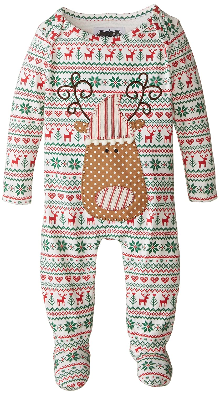 amazoncom mud pie baby boys newborn reindeer sleeper multi 9 12 months clothing