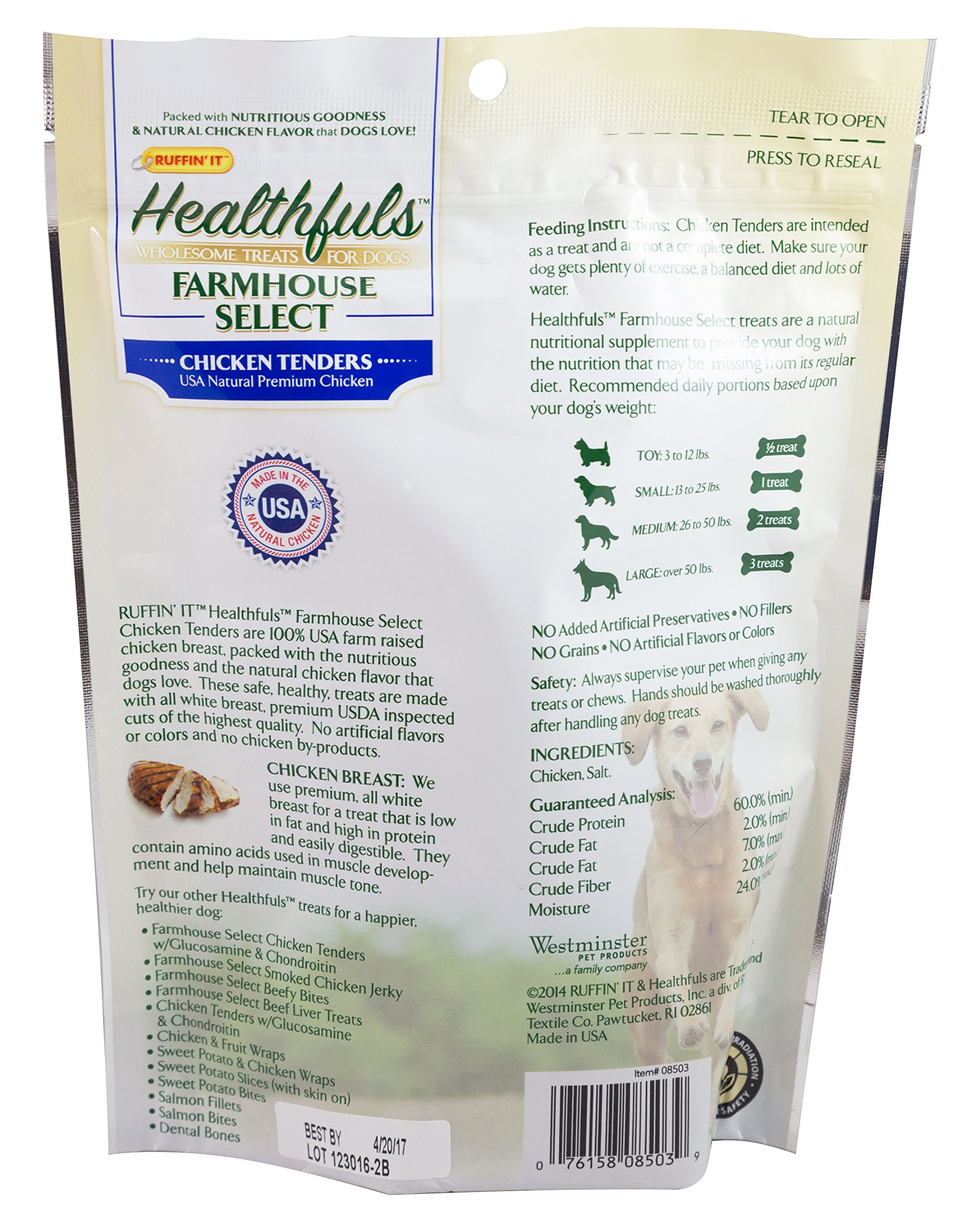 Ruffin It Healthfuls Wholesome Chicken Tenders Treat For Dogs - Made in USA, 3-Pack (12oz in Total) by Ruffin It (Image #3)